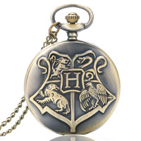 Wholesale Retro Shield Hogwarts School of Witchcraft and Wizardry Bronze pocket watch men women watches