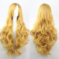 Wholesale 80CM Cosplay Lady Curly Wigs Colored Halloween Women Long Hair Wig Anime Cos Lolita Wigs in high quality