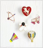 balloon brooch - Hot air balloon badminton sports style bow and arrow brooch pin
