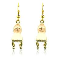 alloy chairs - Fashion Bohemian Style Charms Earrings Stainless Steel Hooks Dangle Enamel Chair Pendants Earrings For Women Jewelry