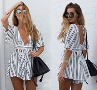 beach overalls - 2016063009 Summer beach hollow out striped women jumpsuit romper Elegant high waist girl overalls Sexy white short playsuit