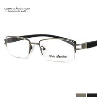 Wholesale Simplicity Classic Design Half frame Silver Color Gentlemen Metal Eyewear Glasses with Light Tr90 Temples SM4011