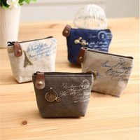 Wholesale Women s canvas bag Coin keychain keys wallet Purse change pocket holder organize cosmetic makeup Sorter