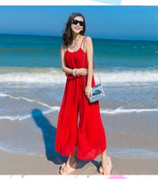 bali resorts - 2016 chiffon jumpsuit dress bohemian beach pants women Bali seaside resort drain back women jumpsuit Rompers long pants DHL