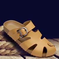 Sandalias al aire libre para hombre de los zapatos de cuero de los hombres de las sandalias del nuevo verano 2016 al aire libre de los zapatos Sandalias al aire libre de cuero de los deslizadores de la playa de los hombres