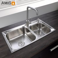 Wholesale Amigo SUS304 one mode finishing sink With a diagonal design generous decency flexible wire processing surface smooth