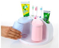Wholesale Toothpaste Toothbrush Holder Wall Suction Desktop Stand Cups Storage sets Wall mounted Desktop Fedex DHL free