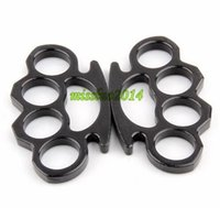 Wholesale 30pcs Black and Silver Thin Steel Brass knuckle dusters Self Defense Personal Security Women and Men self defense Pendant DHL FEDEX FREE