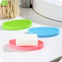 Wholesale 1PC Silicone Flexible Soap Dish Plate Easy Cleaning Travel Soap Holder Tray Drain Skidproof Bathroom Accessories