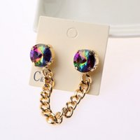 Wholesale Vintage Colorful Round Rhinestone Gold Chain Statement Brooch Collar Tips for Women Pin Up Clothes Brooches for Women Vintage Brooches