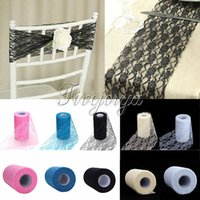 Wholesale 6 quot x Yards Lace Roll Tulle Lace Fabric For Table Runner Chair Sash Tulle Skirt Wedding Party Decor Gift Bow