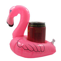 Wholesale Inflatable Pink Flamingo Floating Drink Can Holder Hot Tub Swimming Pool Bath Water Fun Outdoor Play