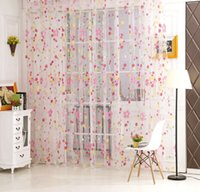 Wholesale 2 Colors Floral Tulle Voile Door Window Curtain Drape Panel Sheer Scarf Valances