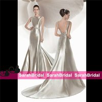 Cheap Demetrios Vintage Sexy Satin Mermaid Wedding Dresses for 2016 Brides Ceremony Reception Wear Sale Cheap Beaded Colored Long Bridal Gowns