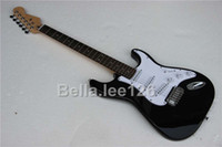 Wholesale guitar BLACK color basswood material body ST electric guitar with chrome hardware hot selling musical instrument