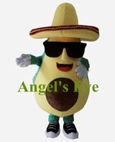 avocado a fruit - cool mexican avocado mascot costume with a big hat and sunglasses adult size cartoon fruit theme anime costumes SW2592