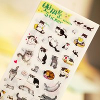 animals sheet music - 6 set Novelty Cats Cartoon Animals Sticker PVC Cartoon Stickers Diary Sticker Scrapbook Decoration PVC Stationery Stickers