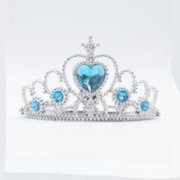 Wholesale Woman Party Plastic Heart Round Rhinestone Headband Hair Band Frozen Crown Princess children girls hair accessories headdress