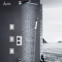 air boosters - hm quot Air Booster Shower Head Saving Water Massage Body Jet Jets Thermostat Shower Kit Wall Mounted Embedded Box Chrome Spout