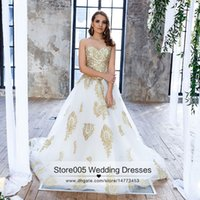 Wholesale 2016 Gold And White Lace Wedding Dresses Ball Gown Sweetheart Tulle Bridal Gowns Plus Size Corset Back Z687
