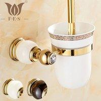 bathroom vanity accessories - GJade Series Golden Polish Brass amp Jade Marble Toilet Brush Holders Bathroom Accessories ceramic cup Sanitary Wares toilet vanity