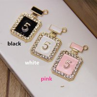 Wholesale Min Mixed Order mm mm Glod Plated Alloy Perfume No Bottle With Hook DIY Rhinestone Clover Decoration Charms