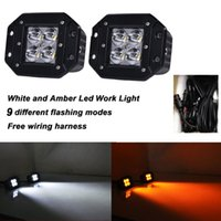 atv signal lights - 2pcs W Spot Color Changing Led Working White and Amber Led Signal Light For Off road SUV Waterproof Boat Light x4WD ATV Jeep Lamp