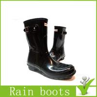 ankle wellington - 2016 Christmas Short Hunter Boots Women Wellies Rainboots Ms glossy Wellington Short Rain Boots Ms glossy Women Wellington Boots