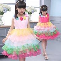 Wholesale Girls tutu princess dress performance clothing A line sundress baby children clothes summer dress flower rainbow kids shirt K027