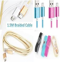 Wholesale Type C Cable M Fabric Nylon Braided Micro USB Cable Metal Head Micro USB Data N Charge Cable For Samsung note7 LG G5 Iphone s cable
