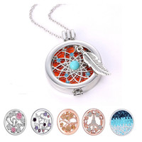 Wholesale Aromatherapy Necklace DIY Coins Angle Wing Locket Pendant Essential Oil Diffuser Necklace