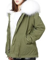 Wholesale DHL Mr Mrs furs mini Parkas with raccoon fur collar liner with rabbit fur liner green jacket