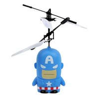 america electric - Famous Stars Minion Captain America Superman Spiderman Intelligent Induction Light Flashing Remote Control Aircraft Airplane For Children
