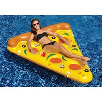 Wholesale New style Water Toy Giant Yellow Inflatable Pizza Slice Floating Bed Raft Air Mattress CM Summer Holiday Swmming Ring DHL Freeship