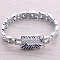Wholesale Attack on Titan survey corps bracelet alloy double wing ID tag sign bangles cuff for me women Anime jewelry