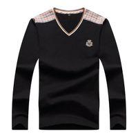 Wholesale 100 Cotton European Brand dress Shirts Men s business casual Designer shirt V neck pullover men