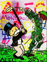 Wholesale New Design Golf Genuine Handpainted Alec Monopoly Cartoon graffiti Pop Art oil Painting On Canvas Museum Quality In any size chosen