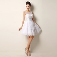 Wholesale Lace Beading Short Wedding Dresses Sexy Plus Size Vintage styles Real Photo Casamento pink white Ivory cute