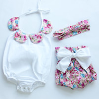 Wholesale 2016 fashion flower vintage floral bodysuit for baby girls fashion boutique summer clothing baby shorts headband sets cotton romper clothes