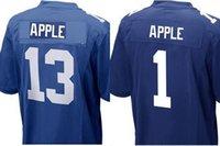 al por mayor manzanas nueva york-(Cualquier número de jugador que necesita) # 1 o # 13 Eli de Apple Nueva York azul marino blanco azul tamaño de Jersey élite pequeña S - 4XL 60 barato