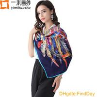 Cheap Luxury brand designer print large foulard femme square satin shawl shawls vintage style twilly silk neckerchief scarf 110*110 cm