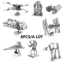 Wholesale Chinese Metal Earth Star Wars D Metal model Etching Puzzles DIY a X WING Millennium Falcon Tie Fighter creative gifts