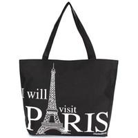 handbags paris - Large Space Women Canvas Handbag Zipper Shopping Shoulder Bag Paris Eiffel Tower Pattern Girls Beach Bookbag Casual Tote Fashion