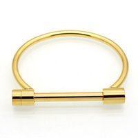 Wholesale 4 colors Fashion Shackle Screw Bracelet Cuff K Rose Gold Bangle Stainless Steel Bangles Bracelets For Women Love Bracelet