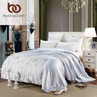 Wholesale BeddingOutlet Bloom Duvet Floral Jacquard White Comforter Soft Mulberry Silk Quilt Twin Queen King Size Home Textiles