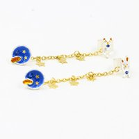 Wholesale Space Cats Rabbits Cuff Earrings for Women girls Space Stars Tassels link chains clips earrings New design clips Earrings Fashion Jewelry