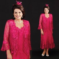 ann dress - Ann Balon Mother Of The Bride Dresses Tea Length Full Lace Mother s Wedding Gowns Beads Fuchsia Plus Size Mothers Groom Dress