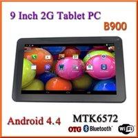 Precio de Tablet 9 inch-B900 9 pulgadas 2G llamada de teléfono tabletas de doble núcleo PC de la tableta de la pantalla capacitiva Android 4.4 512M 4GB de doble cámara linterna phablet Bluetooth