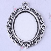 Wholesale Jewelry Settings Hollow lace pendant antique Silver bronze DIY alloy charms fit Necklace z
