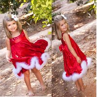 baby ceremonies - Baby Girls Kids Christmas Party dressRed Paillette Tutu Dresses Xmas Gift Children Clothes Kids Ceremonies Dress